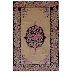 Early 20th Century Karabagh Black and Pink Flower-Patterned Handmade Wool Rug