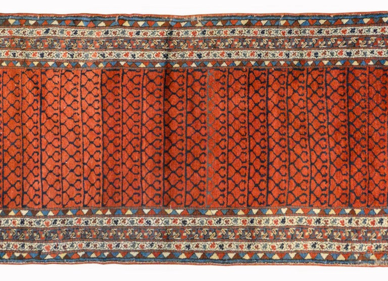 A gorgeous early 20th century Azerbaijani Karabak runner with a central field with a geometric trellis pattern woven in indigo against a rich crimson background. The border is extraordinary woven with multiple petite floral and striped patterned