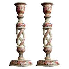 Early 20th Century Kashmir Papier Mache Candle Sticks