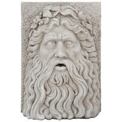 Early 20th Century Keystone Mask of Zeus in Limestone from Italy