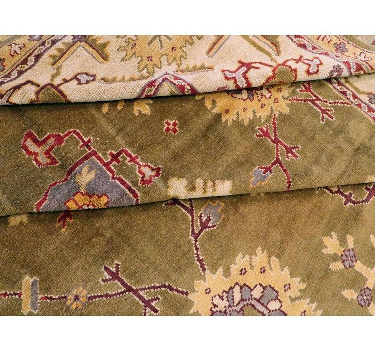 Early 20th Century Khaki Green Large Oversized Turkish Oushak Handmade Carpet For Sale 4