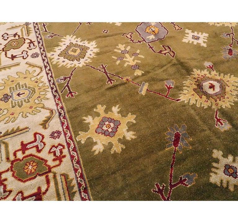 Wool Early 20th Century Khaki Green Large Oversized Turkish Oushak Handmade Carpet For Sale