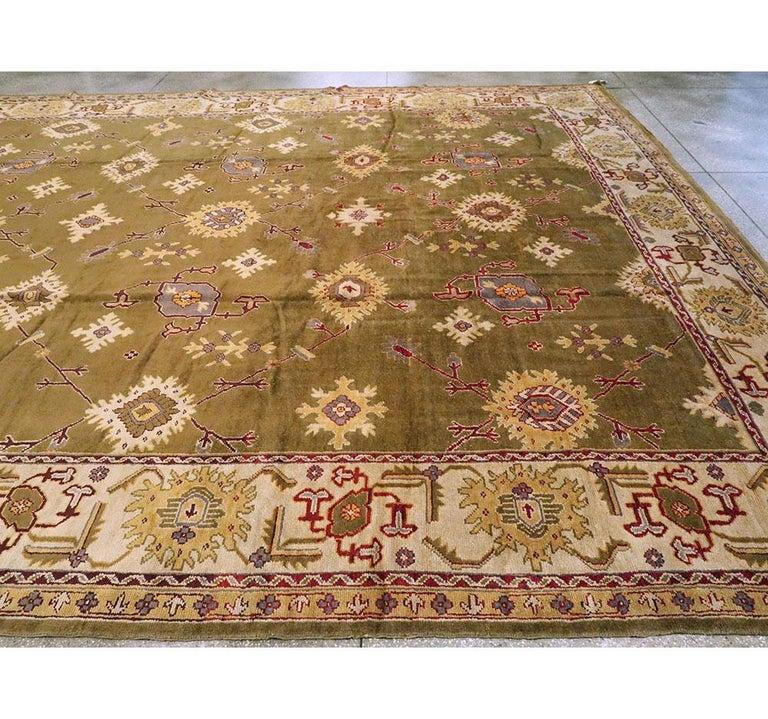 Early 20th Century Khaki Green Large Oversized Turkish Oushak Handmade Carpet For Sale 1