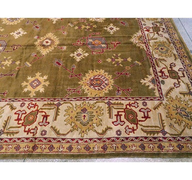 Early 20th Century Khaki Green Large Oversized Turkish Oushak Handmade Carpet For Sale 2