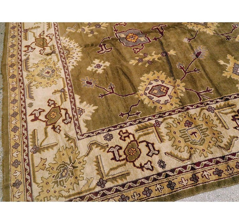 Early 20th Century Khaki Green Large Oversized Turkish Oushak Handmade Carpet For Sale 3