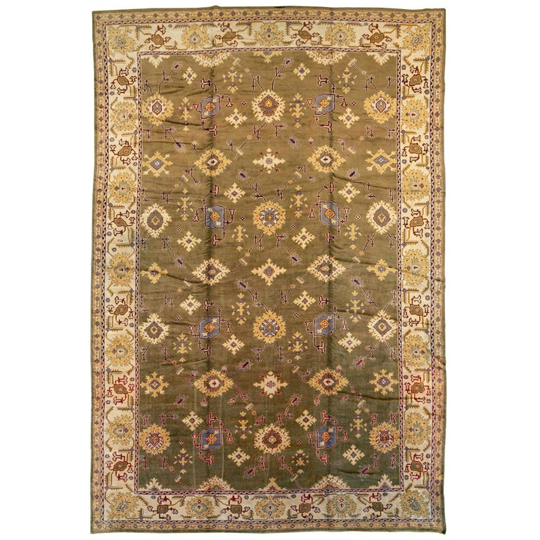 Early 20th Century Khaki Green Large Oversized Turkish Oushak Handmade Carpet For Sale