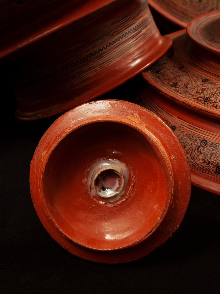 Early 20th Century Lacquer and Bamboo Offering Vessel, Hsun Ok, Pagan, Burma For Sale 4