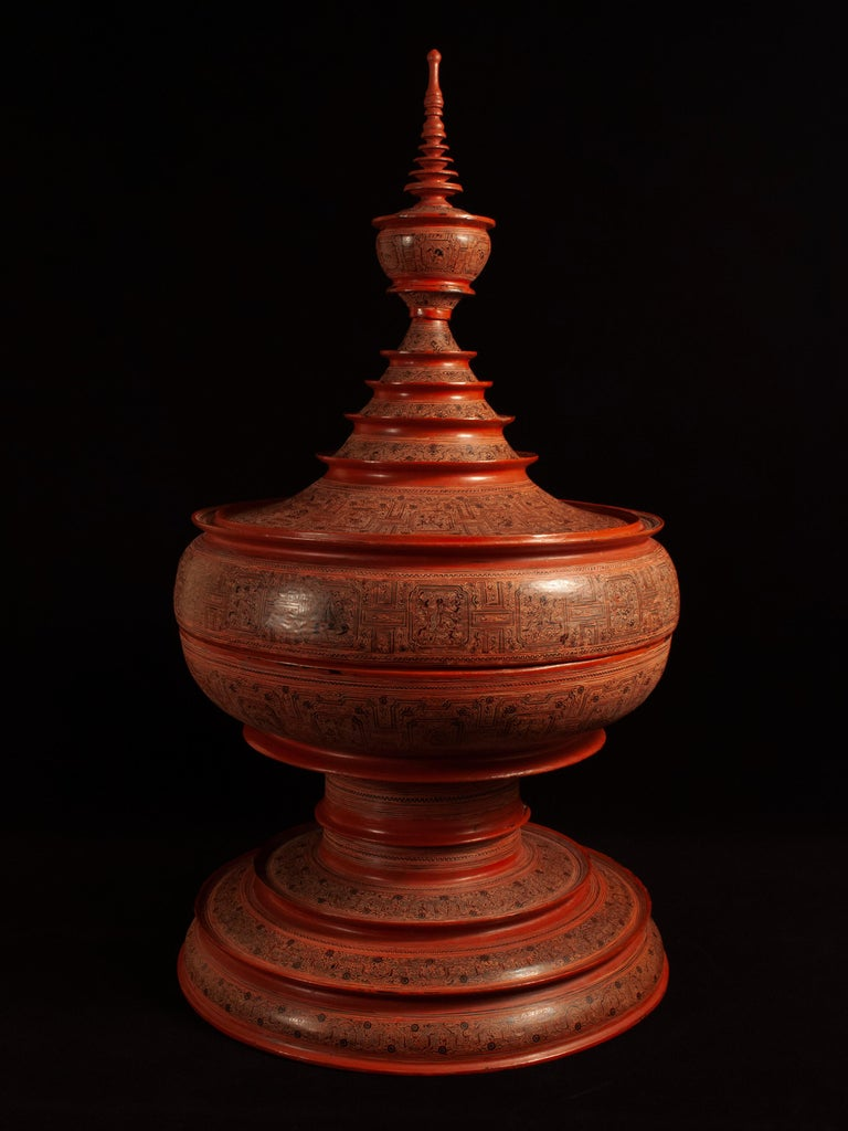 Tribal Early 20th Century Lacquer and Bamboo Offering Vessel, Hsun Ok, Pagan, Burma For Sale