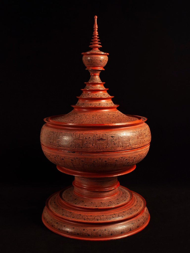 Burmese Early 20th Century Lacquer and Bamboo Offering Vessel, Hsun Ok, Pagan, Burma For Sale