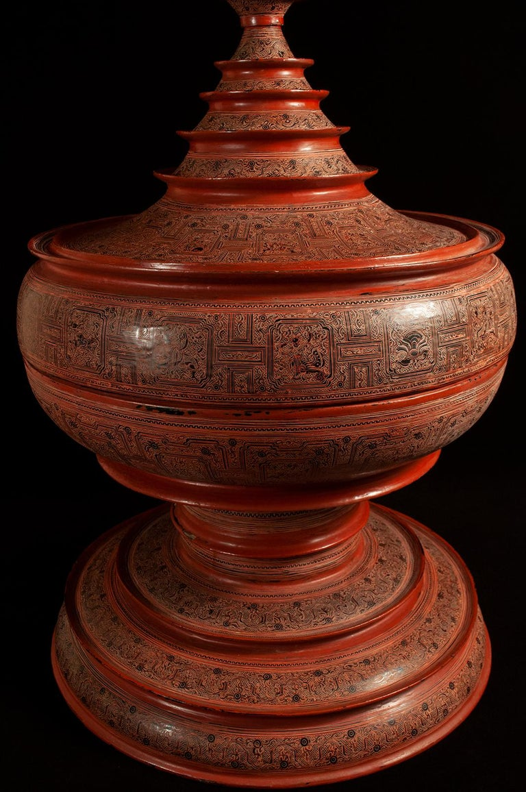 Hand-Crafted Early 20th Century Lacquer and Bamboo Offering Vessel, Hsun Ok, Pagan, Burma For Sale