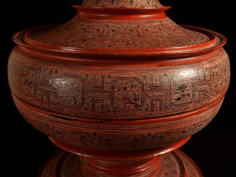 Early 20th Century Lacquer and Bamboo Offering Vessel, Hsun Ok, Pagan, Burma In Good Condition For Sale In Point Richmond, CA