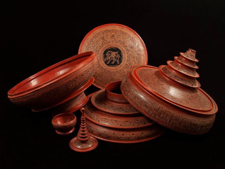 Early 20th Century Lacquer and Bamboo Offering Vessel, Hsun Ok, Pagan, Burma For Sale 2