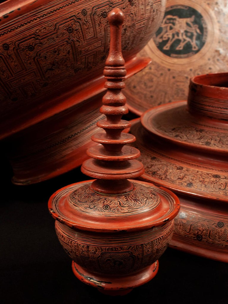 Early 20th Century Lacquer and Bamboo Offering Vessel, Hsun Ok, Pagan, Burma For Sale 3