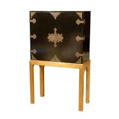 Early 20th Century Lacquered Cabinet on Custom Gilt Stand