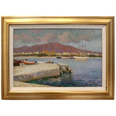 Early 20th Century Landscape Painting of Southern French Port by George Roux