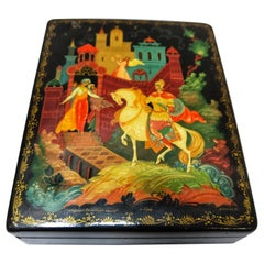 Early 20th Century Lacquered Hand Painted and Signed Russian Box