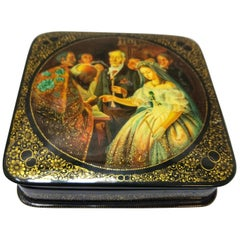 Early 20th Century Laquered Hand Painted and Signed Russian Box