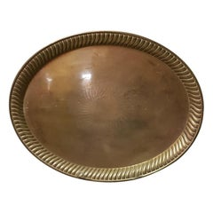 Early 20th Century Large Brass Serving Tray with Lobed Edge