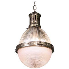 Early 20th Century Large Caged Brass and Prismatic Glass Holophane Lantern Light
