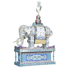 Early 20th Century Large Chinese Cloisonne Enamel Elephant on Stand