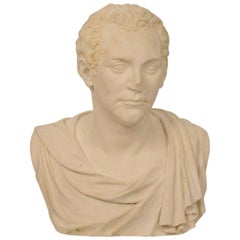 Early 20th Century Large Italian Grand Tour Plaster Bust of Roman Senator, 1930