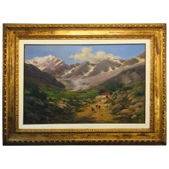 Early 20th Century Large Italian Piedmontese Mountain Landscape by Silvio Poma