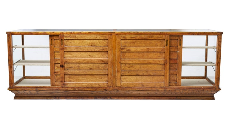 Swedish Early 20th Century Large Oak Haberdashery Display Cabinet For Sale
