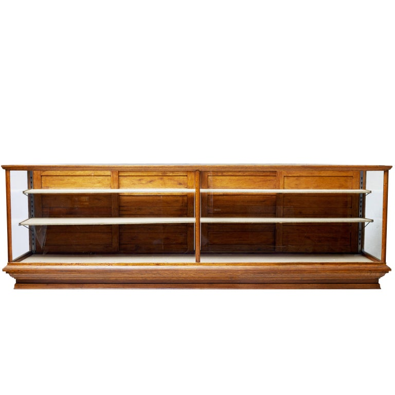 Early 20th Century Large Oak Haberdashery Display Cabinet For Sale