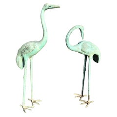 Early 20th Century Large Pair of Japanese Bronze Life-Size Cranes