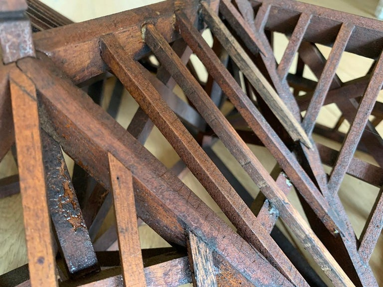Softwood Early 20th Century, Large Piece De Maitrise, Architectural Model Roof For Sale