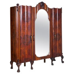 Early 20th Century Large Venetian Baroque Wardrobe in Walnut Hand Carved & Briar