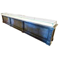 Early 20th Century Large Wood and Glass Store Counter