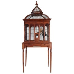 Early 20th Century Large Wooden Highly Decorative Table Bird Cage