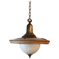 Early 20th Century Layered Milk Glass and Brass Foyer Pendant Light
