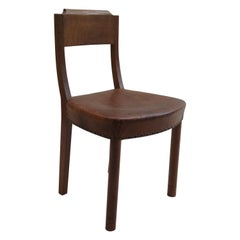 Early 20th Century Leather and Oak Side Chair