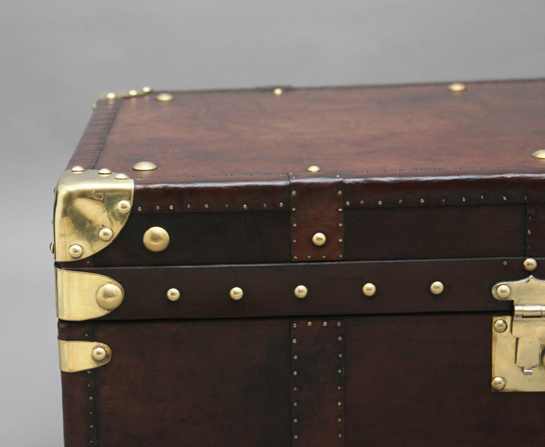 Early 20th Century Leather Bound Ex Army Trunk For Sale 4
