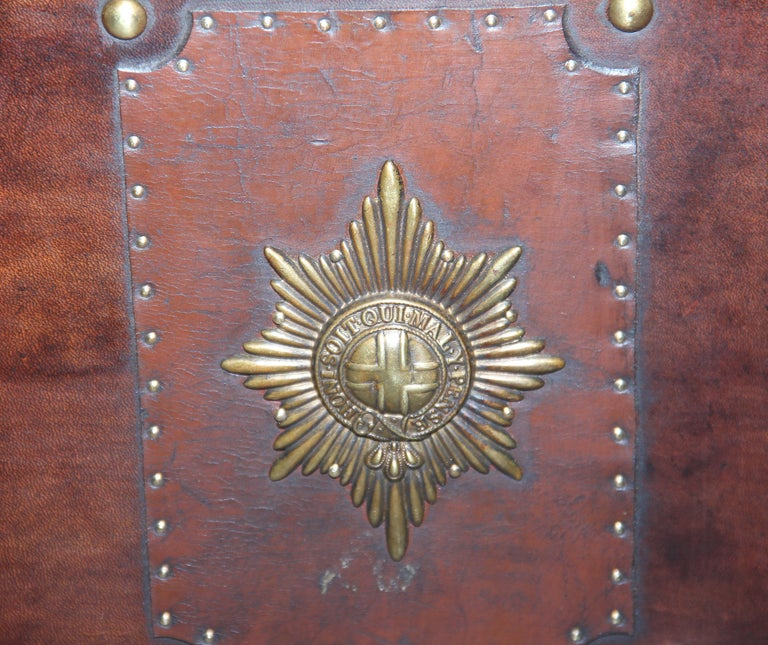 Early 20th Century Leather Bound Ex Army Trunk For Sale 5