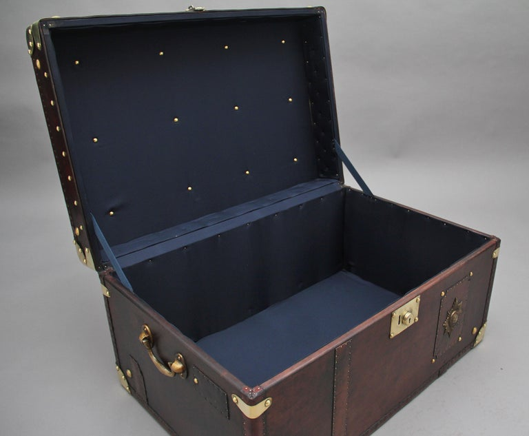 Edwardian Early 20th Century Leather Bound Ex Army Trunk For Sale
