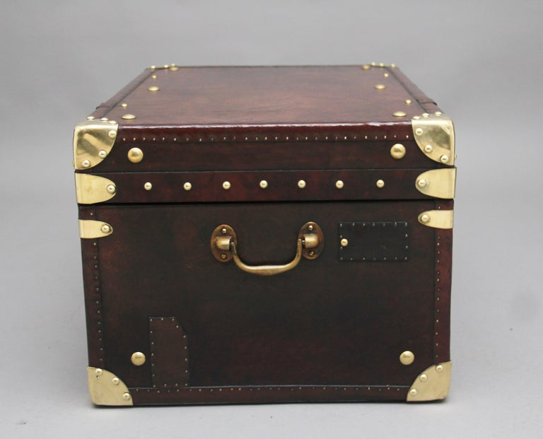 British Early 20th Century Leather Bound Ex Army Trunk For Sale