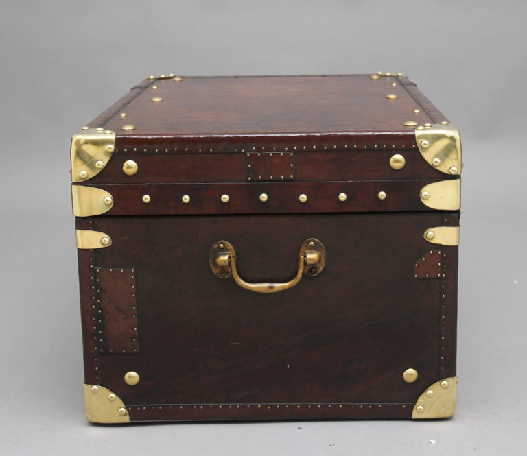 Mid-20th Century Early 20th Century Leather Bound Ex Army Trunk For Sale