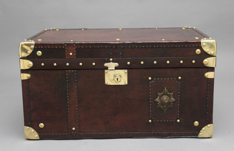Early 20th Century Leather Bound Ex Army Trunk For Sale 1