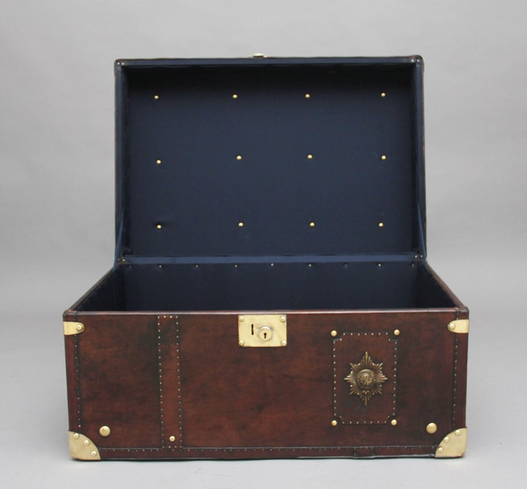 Early 20th Century Leather Bound Ex Army Trunk For Sale 2