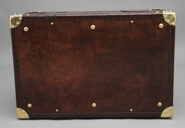 Early 20th Century Leather Bound Ex Army Trunk For Sale 3