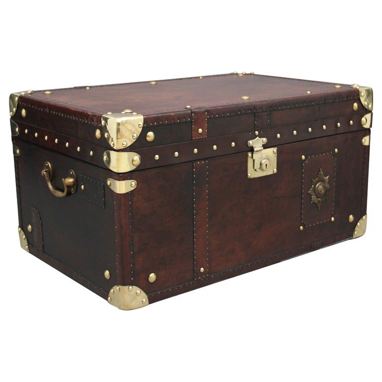 Early 20th Century Leather Bound Ex Army Trunk For Sale