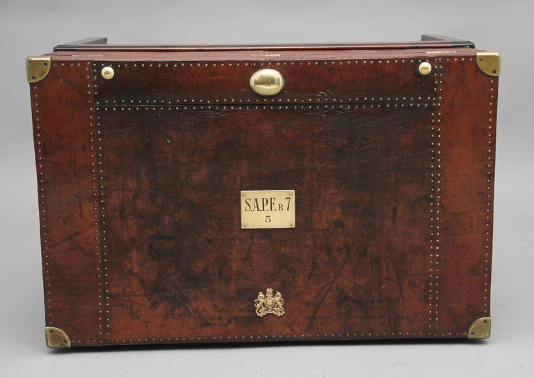 British Early 20th Century Leather Bound Ex Army Trunk on Stand