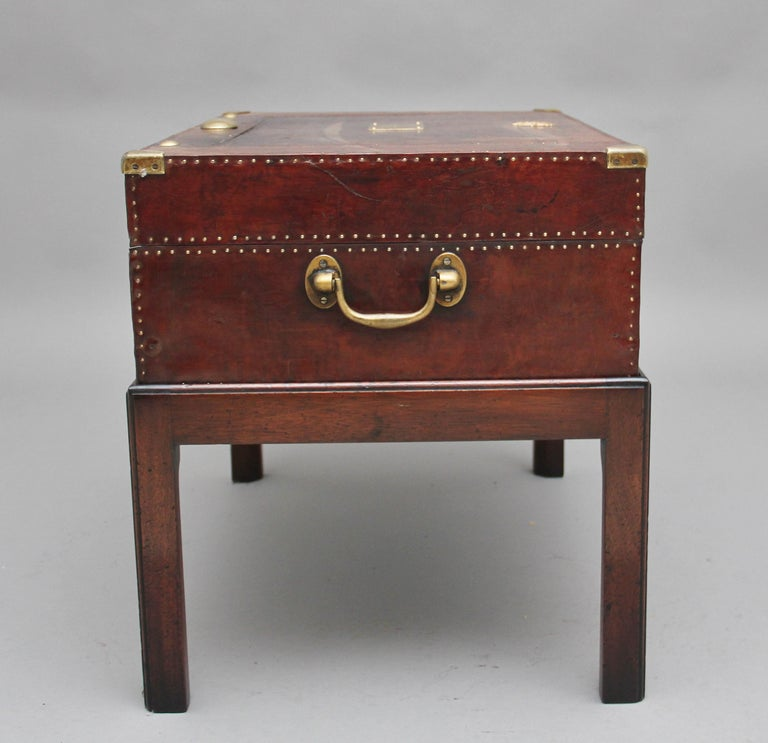 Mid-20th Century Early 20th Century Leather Bound Ex Army Trunk on Stand