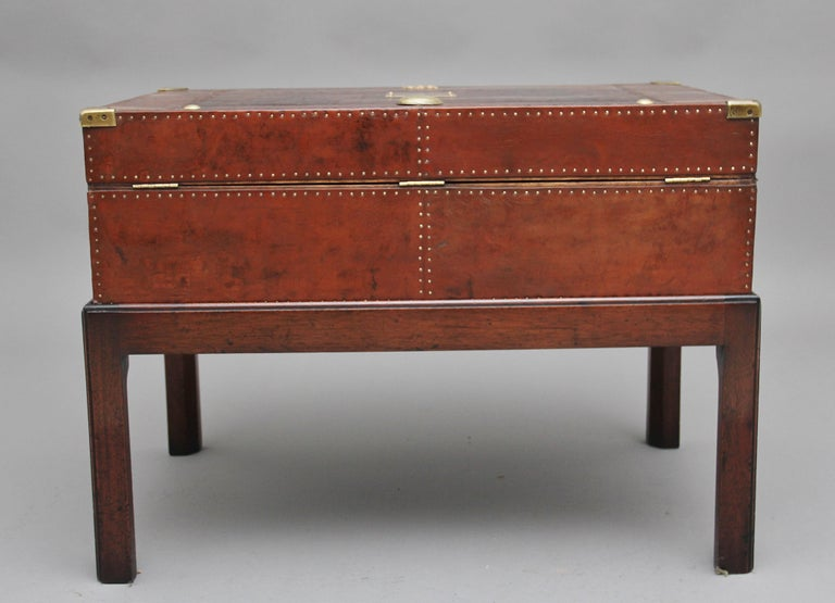 Early 20th Century Leather Bound Ex Army Trunk on Stand 1