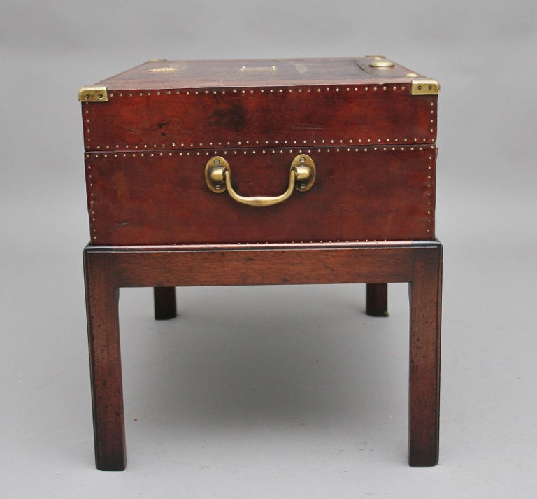 Early 20th Century Leather Bound Ex Army Trunk on Stand 2