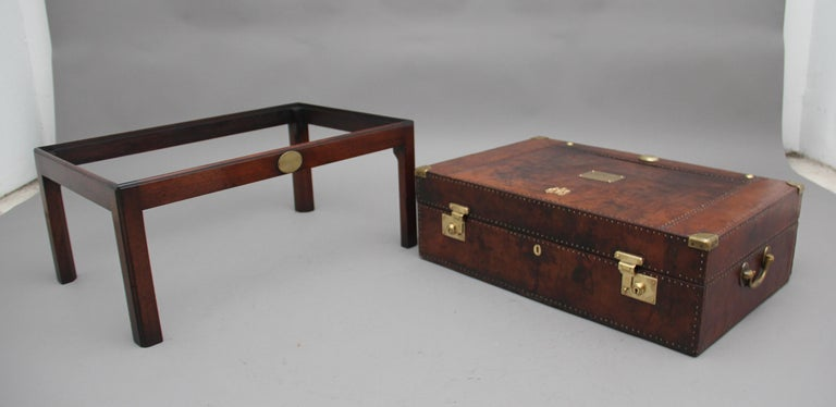Early 20th Century Leather Bound Ex Army Trunk on Stand 3