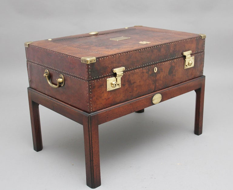 Early 20th Century Leather Bound Ex Army Trunk on Stand 4